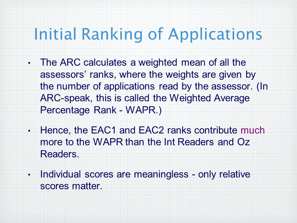 Initial Ranking of Applications The ARC calculates a weighted mean of all the assessors' ranks, where the weights are given by the number of applications read by the assessor.