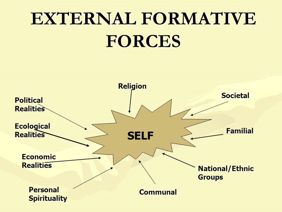 EXTERNAL FORMATIVE FORCES Political Realities SELF Ecological Realities Economic Realities Personal Spirituality Religion Societal Familial National/Ethnic Groups Communal