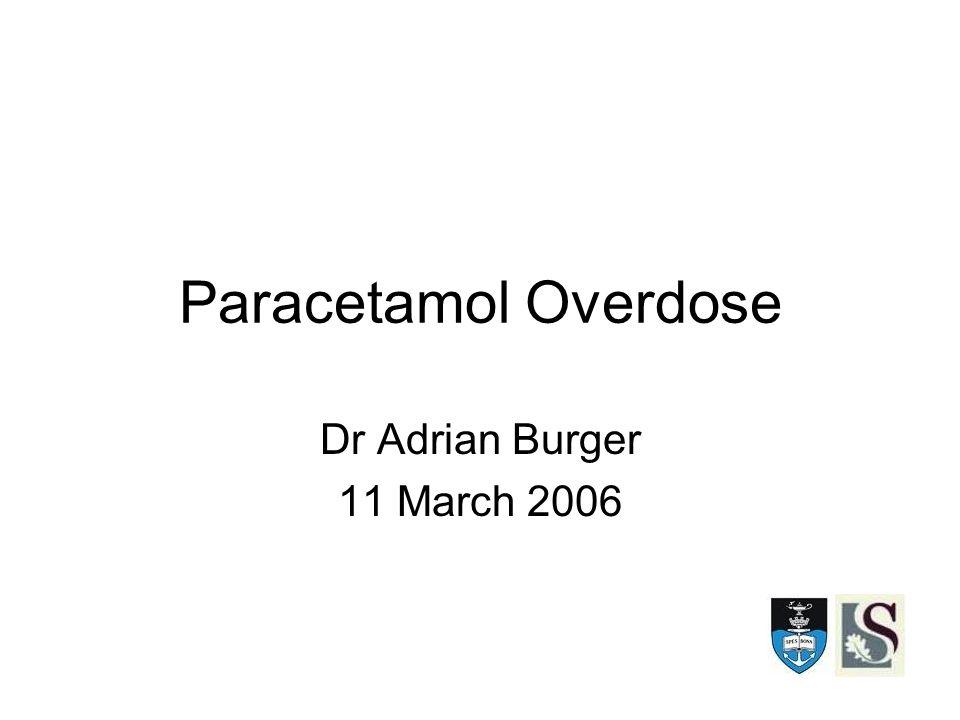 Paracetamol Overdose Dr Adrian Burger 11 March 2006