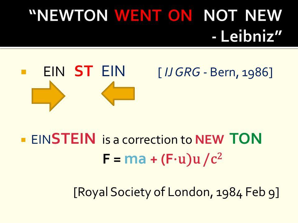  EIN ST EIN [ IJ GRG - Bern, 1986]  EIN STEIN is a correction to NEW TON F = ma + (F ⋅u)u /c 2 [Royal Society of London, 1984 Feb 9]