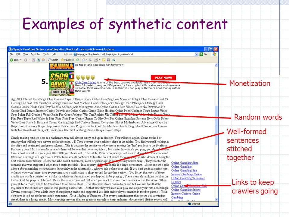 Examples of synthetic content Someone's wedding site!