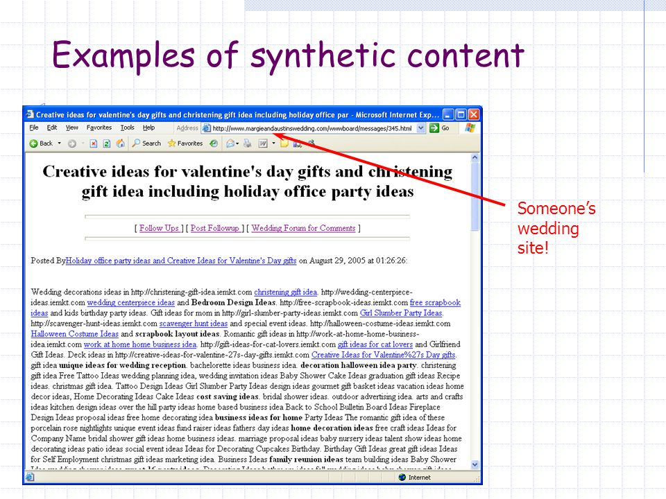 Really good synthetic content Links to keep crawlers going Grammatically well-formed but meaningless sentences Nigritude Ultramarine : An SEO competition