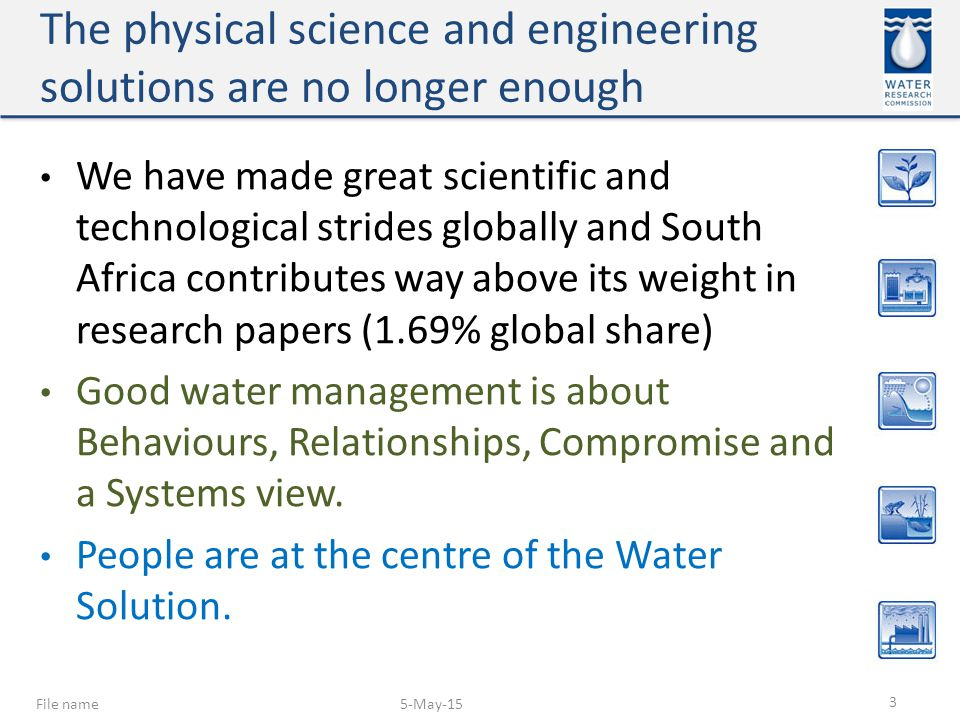 The physical science and engineering solutions are no longer enough We have made great scientific and technological strides globally and South Africa contributes way above its weight in research papers (1.69% global share) Good water management is about Behaviours, Relationships, Compromise and a Systems view.