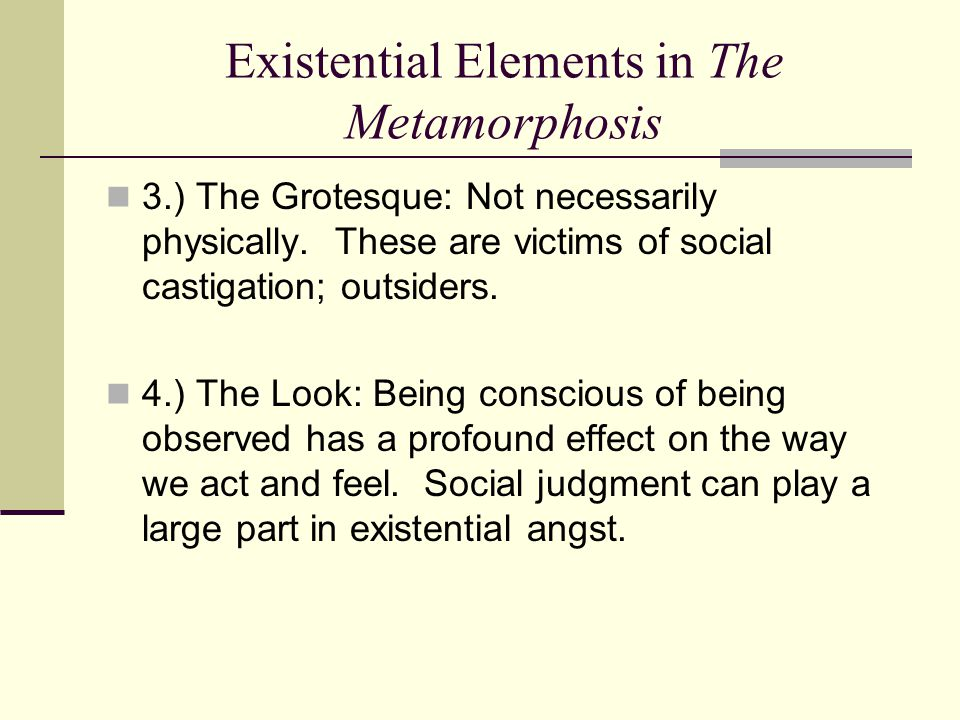 Existential Elements in The Metamorphosis 3.) The Grotesque: Not necessarily physically. These are victims of social castigation; outsiders. 4.) The L
