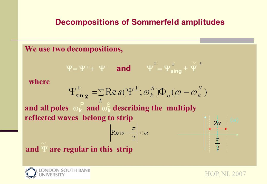 HOP, NI, 2007 Substituting Sommerfeld Integrals into bdry cdtns & using tip condition we obtain functional eqns   + (g(  +  ) r 11 (  ) r 12 (  )  + (g(  -  )  + (  +  ) r 21 (  ) r 22 (  )  + (  -  ) and  + (g(  -  ) r 11 (  ) r 12 (  )  + (g(  +  )  + (  -  ) r 21 (  ) r 22 (  )  + (  +  ) and a similar pair for  - and  - Function g(  )=cos -1(  -1 cos  ) transforms P scatter angles into S scatter angles, g( )= Reduction to functional equations [ ]=]= [ []]+c1f1()]+c1f1() []=]= [][]+c1f2()]+c1f2() + + 