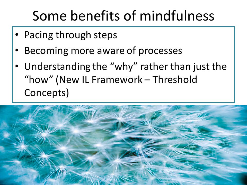 Some benefits of mindfulness Pacing through steps Becoming more aware of processes Understanding the why rather than just the how (New IL Framework – Threshold Concepts)