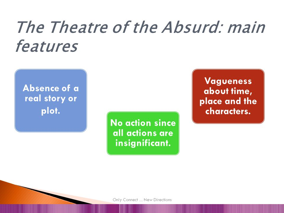 HISTORICAL BACKGROUND NEW MEANING OF EXISTENCE FRENCH EXISTENTIALISM SAMUEL BECKETT 1. The Theatre of the Absurd and Samuel Beckett
