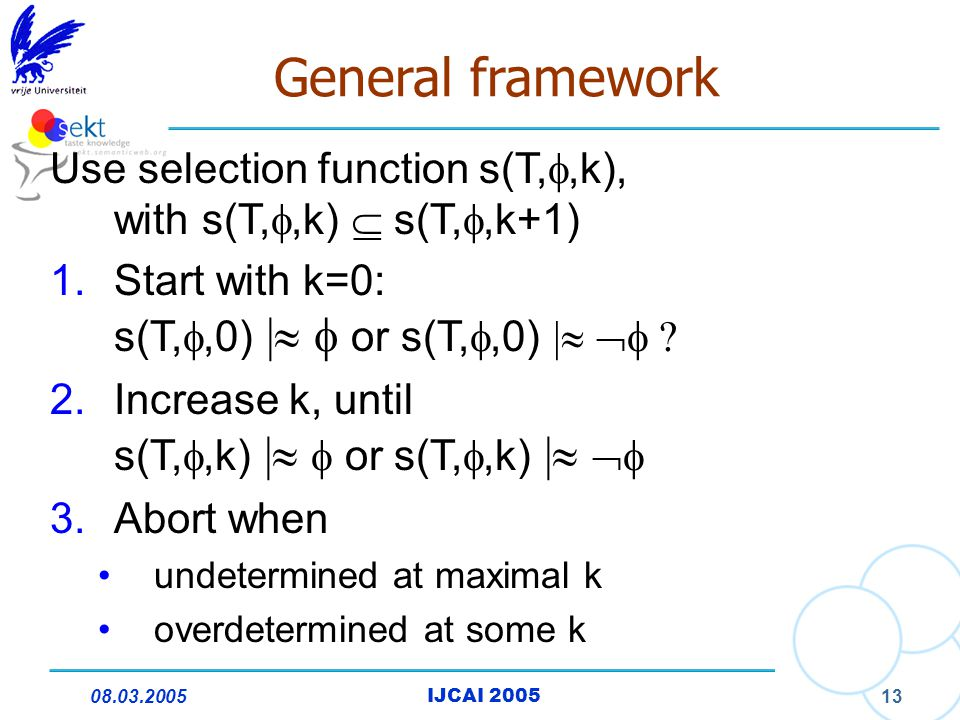 08.03.2005IJCAI 2005 13 General framework Use selection function s(T, ,k), with s(T, ,k)  s(T, ,k+1) 1.Start with k=0: s(T, ,0) |   or s(T, ,0) |   .