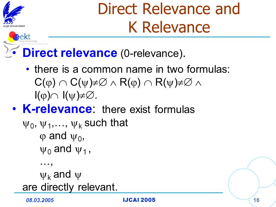08.03.2005IJCAI 2005 16 Direct Relevance and K Relevance Direct relevance (0-relevance). there is a common name in two formulas: C(  )  C(  )  