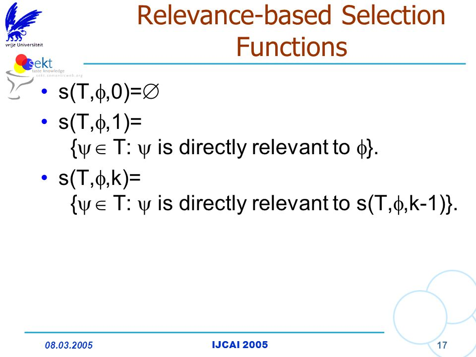 08.03.2005IJCAI 2005 17 Relevance-based Selection Functions s(T, ,0)=  s(T, ,1)= {  T:  is directly relevant to  }. s(T, ,k)= {  T:  is dir
