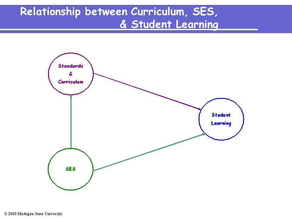 © 2003 Michigan State University Relationship between Curriculum, SES, & Student Learning