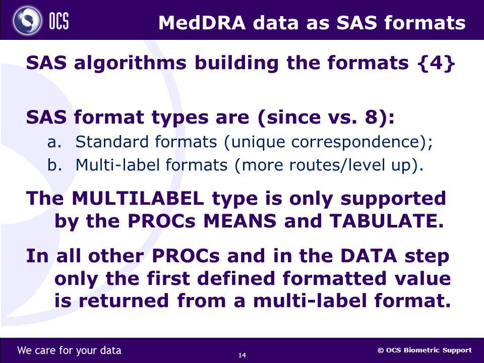 © OCS Biometric Support 14 MedDRA data as SAS formats SAS algorithms building the formats {4} SAS format types are (since vs.