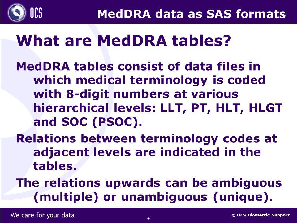 © OCS Biometric Support 25 MedDRA data as SAS formats Supported SAS versions and OSs 1.SAS vs 8.x / MS Windows 2000: MedDRA vs 5 & 6 (a prototype system) 2.SAS vs 9.x / MS Windows XP: MedDRA vs 9, 10 & 11; 3.SAS vs X.y / any operating system: expected: any future MedDRA version.