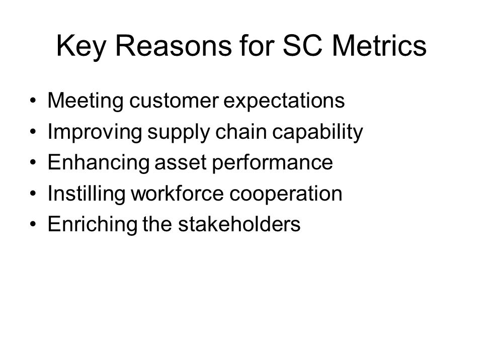 Key Reasons for SC Metrics Meeting customer expectations Improving supply chain capability Enhancing asset performance Instilling workforce cooperation Enriching the stakeholders