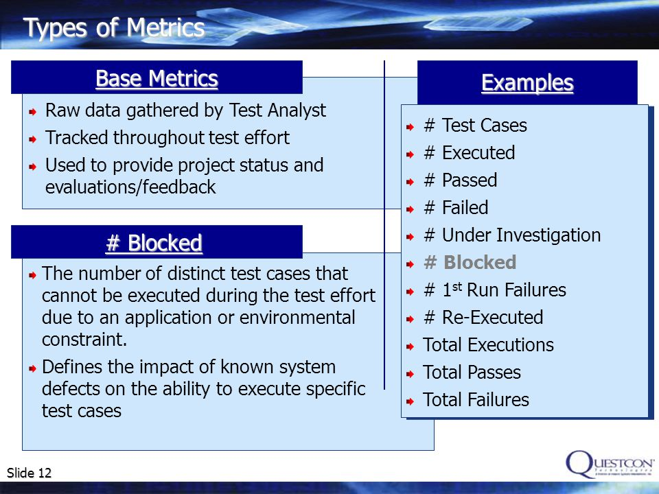 Slide 12 Types of Metrics # Blocked Base Metrics Examples The number of distinct test cases that cannot be executed during the test effort due to an application or environmental constraint.