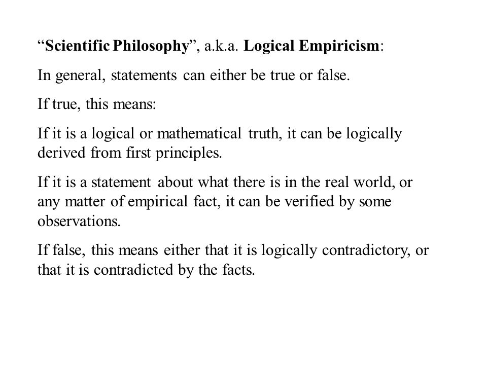Scientific Philosophy , a.k.a.