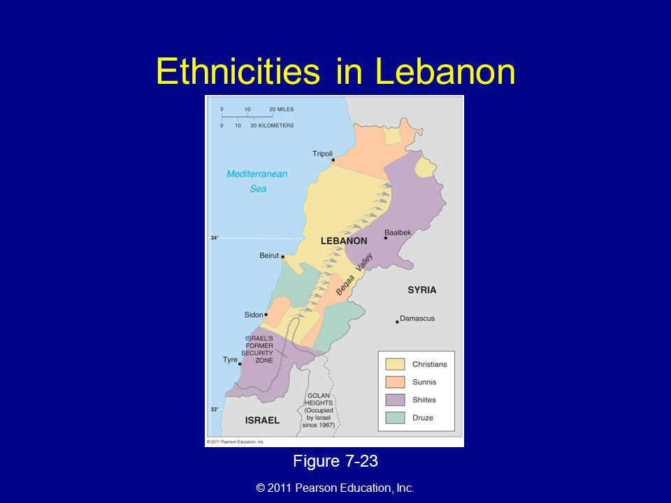 © 2011 Pearson Education, Inc. Ethnicities in Lebanon Figure 7-23