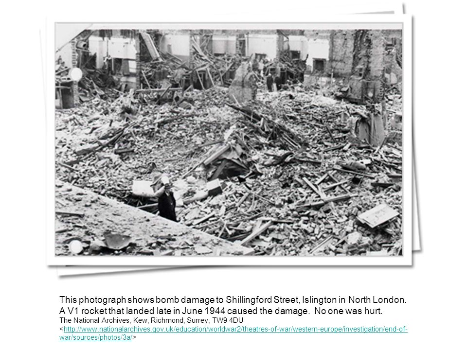 This photograph shows bomb damage to Shillingford Street, Islington in North London.