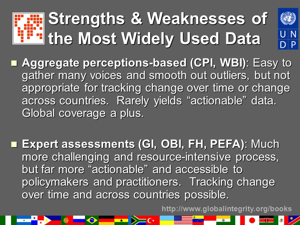 http://www.globalintegrity.org/books Strengths & Weaknesses of the Most Widely Used Data Aggregate perceptions-based (CPI, WBI): Easy to gather many v