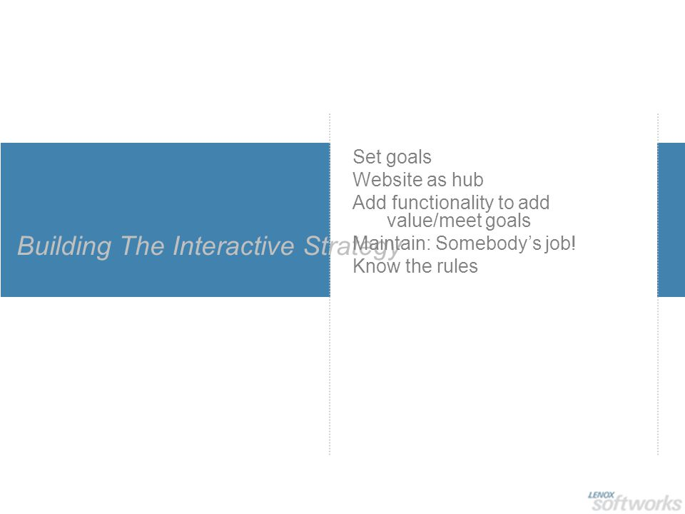 Building The Interactive Strategy Set goals Website as hub Add functionality to add value/meet goals Maintain: Somebody's job.