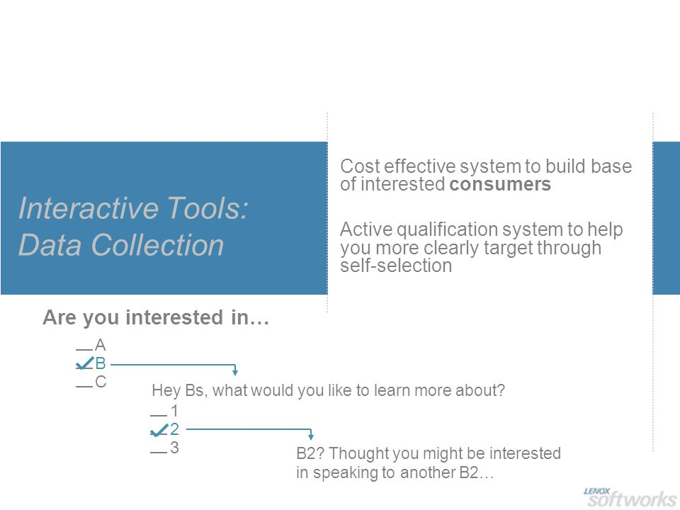Interactive Tools: Data Collection Cost effective system to build base of interested consumers Active qualification system to help you more clearly ta