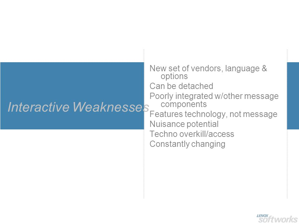 Interactive Weaknesses New set of vendors, language & options Can be detached Poorly integrated w/other message components Features technology, not me