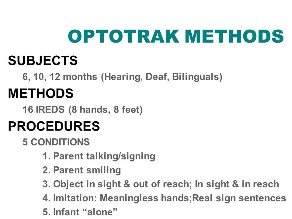 OPTOTRAK METHODS SUBJECTS 6, 10, 12 months (Hearing, Deaf, Bilinguals) METHODS 16 IREDS (8 hands, 8 feet) PROCEDURES 5 CONDITIONS 1.
