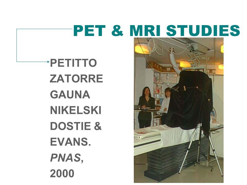 PET & MRI STUDIES PETITTO ZATORRE GAUNA NIKELSKI DOSTIE & EVANS. PNAS, 2000