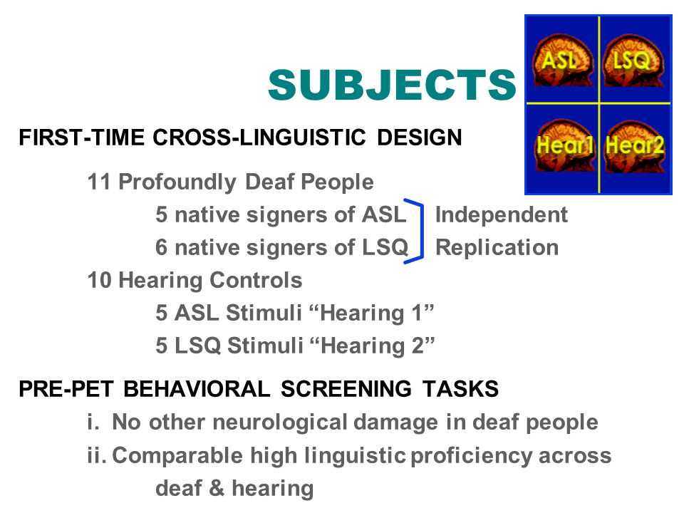 FIRST-TIME CROSS-LINGUISTIC DESIGN 11 Profoundly Deaf People 5 native signers of ASL Independent 6 native signers of LSQ Replication 10 Hearing Contro