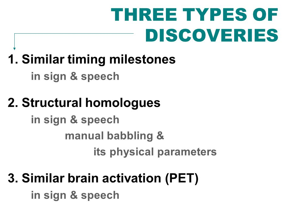 THREE TYPES OF DISCOVERIES 1. Similar timing milestones in sign & speech 2. Structural homologues in sign & speech manual babbling & its physical para