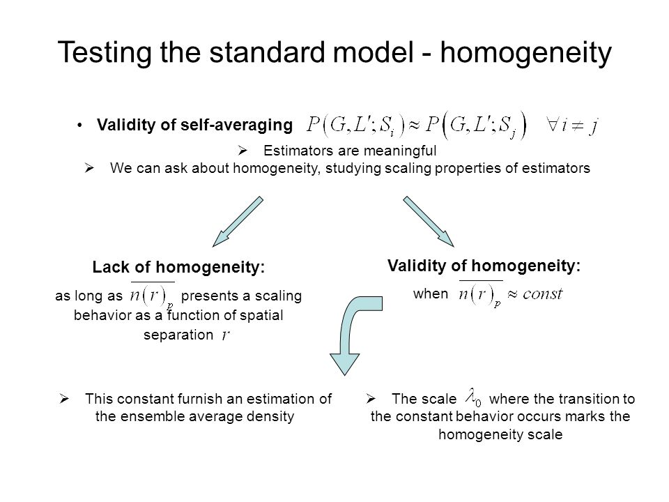 Testing the standard model - homogeneity Validity of self-averaging  Estimators are meaningful  We can ask about homogeneity, studying scaling properties of estimators Lack of homogeneity: as long as presents a scaling behavior as a function of spatial separation Validity of homogeneity: when  This constant furnish an estimation of the ensemble average density  The scale where the transition to the constant behavior occurs marks the homogeneity scale