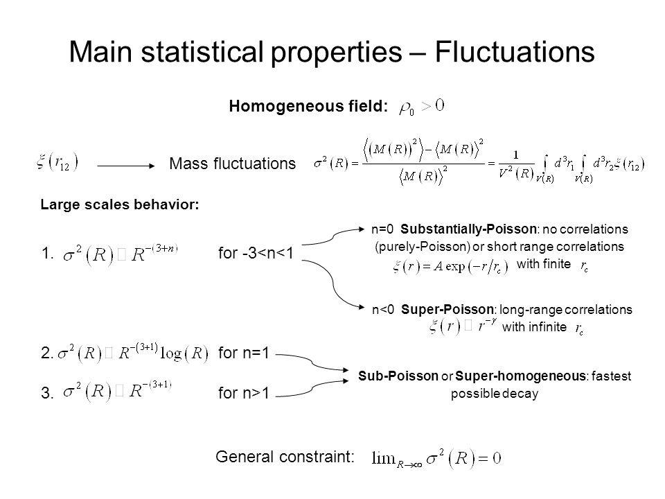 Homogeneous field: Main statistical properties – Fluctuations Mass fluctuations 1.