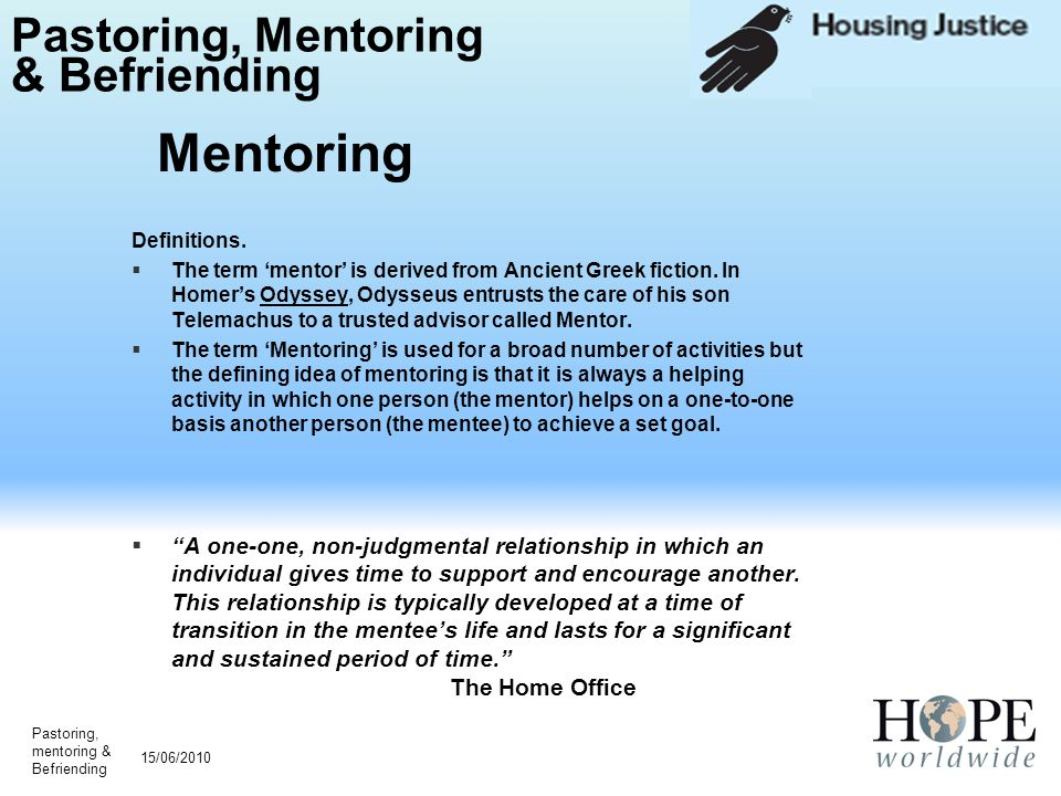 Pastoring, Mentoring & Befriending Definitions.