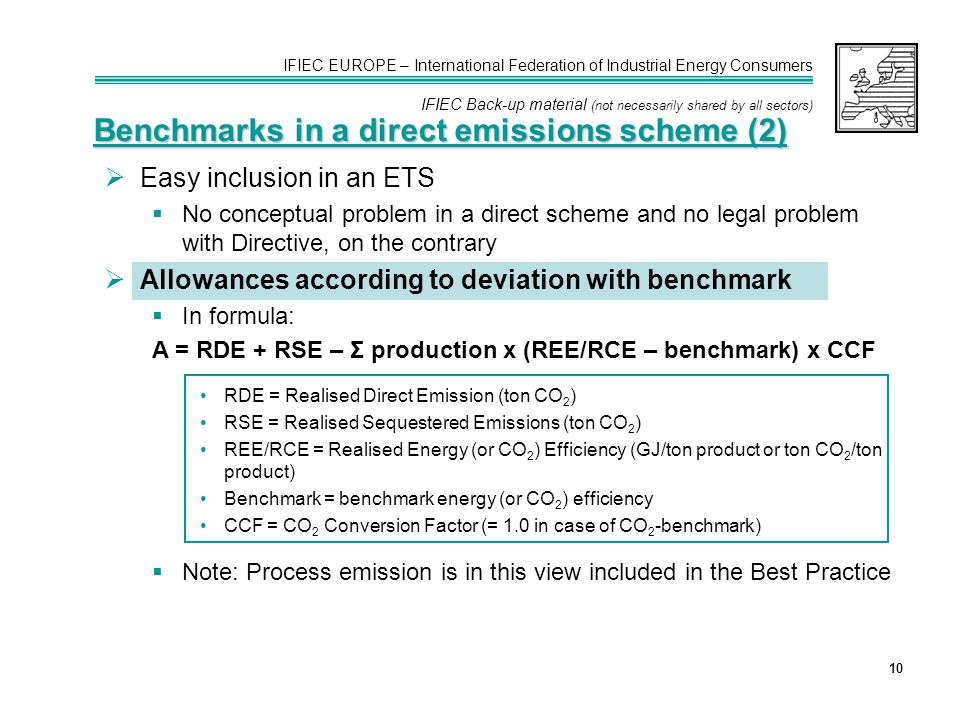 IFIEC EUROPE – International Federation of Industrial Energy Consumers IFIEC Back-up material (not necessarily shared by all sectors) 10 Benchmarks in a direct emissions scheme (2)  Easy inclusion in an ETS  No conceptual problem in a direct scheme and no legal problem with Directive, on the contrary  Allowances according to deviation with benchmark  In formula: A = RDE + RSE – Σ production x (REE/RCE – benchmark) x CCF RDE = Realised Direct Emission (ton CO 2 ) RSE = Realised Sequestered Emissions (ton CO 2 ) REE/RCE = Realised Energy (or CO 2 ) Efficiency (GJ/ton product or ton CO 2 /ton product) Benchmark = benchmark energy (or CO 2 ) efficiency CCF = CO 2 Conversion Factor (= 1.0 in case of CO 2 -benchmark)  Note: Process emission is in this view included in the Best Practice