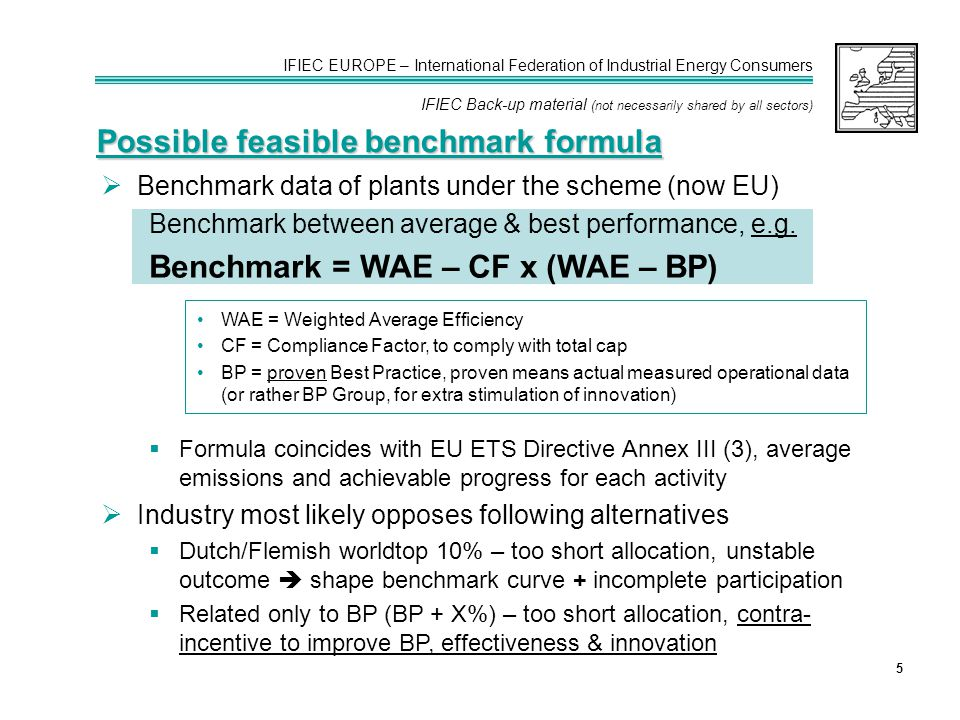 IFIEC EUROPE – International Federation of Industrial Energy Consumers IFIEC Back-up material (not necessarily shared by all sectors) 5  Benchmark data of plants under the scheme (now EU) Benchmark between average & best performance, e.g.