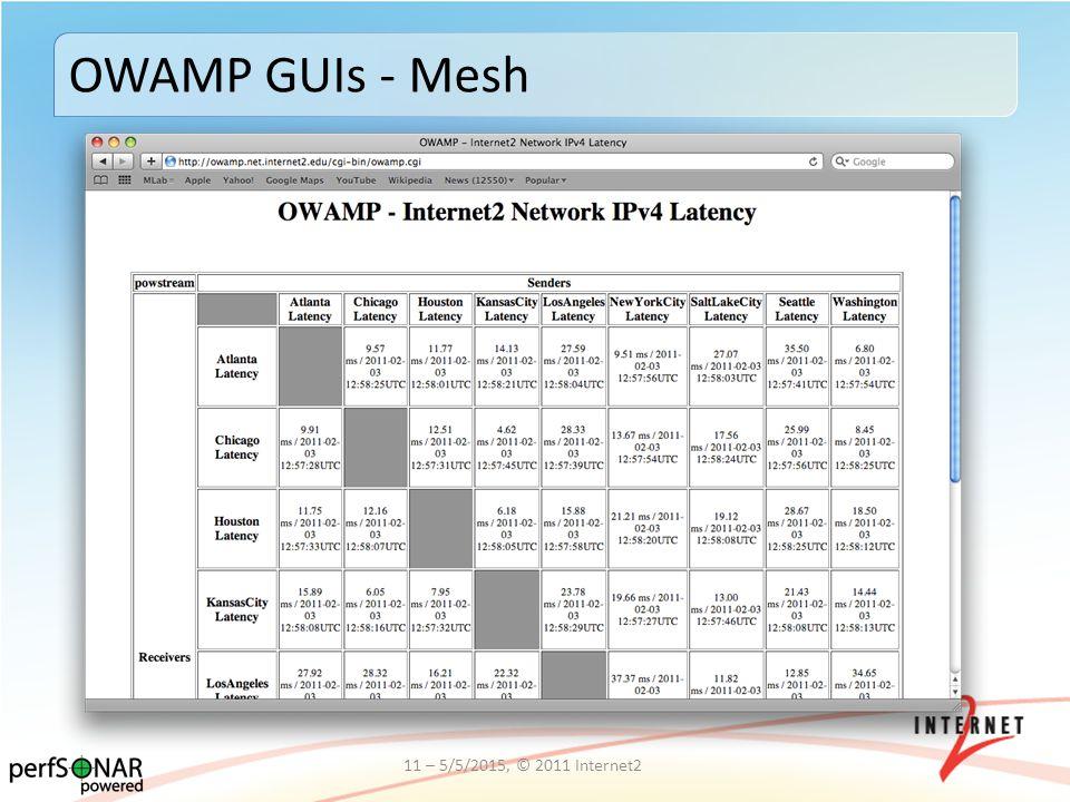 OWAMP GUIs - Mesh 11 – 5/5/2015, © 2011 Internet2