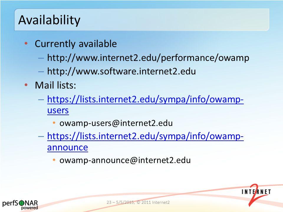 Currently available – http://www.internet2.edu/performance/owamp – http://www.software.internet2.edu Mail lists: – https://lists.internet2.edu/sympa/i