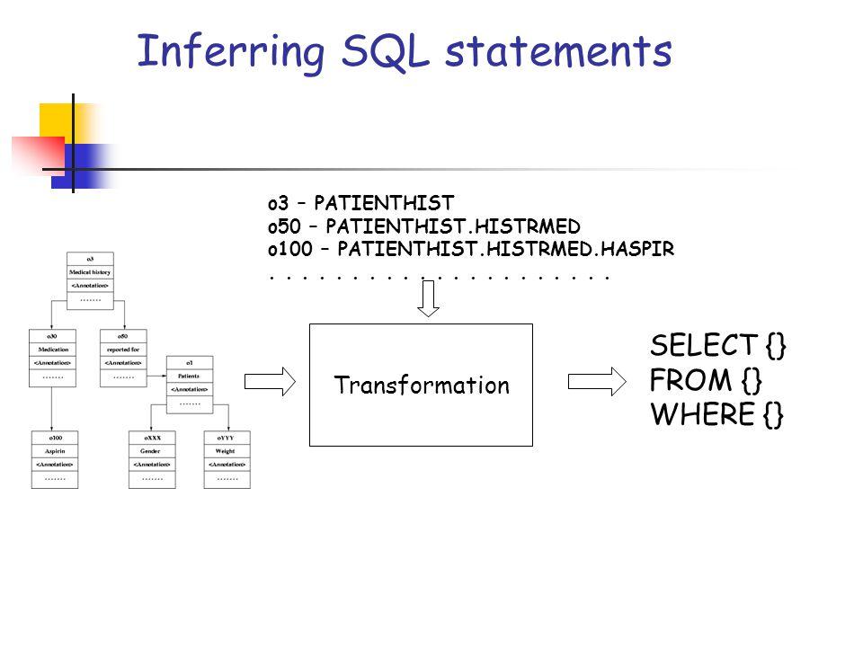 Inferring SQL statements Transformation o3 – PATIENTHIST o50 – PATIENTHIST.HISTRMED o100 – PATIENTHIST.HISTRMED.HASPIR..................... SELECT {}