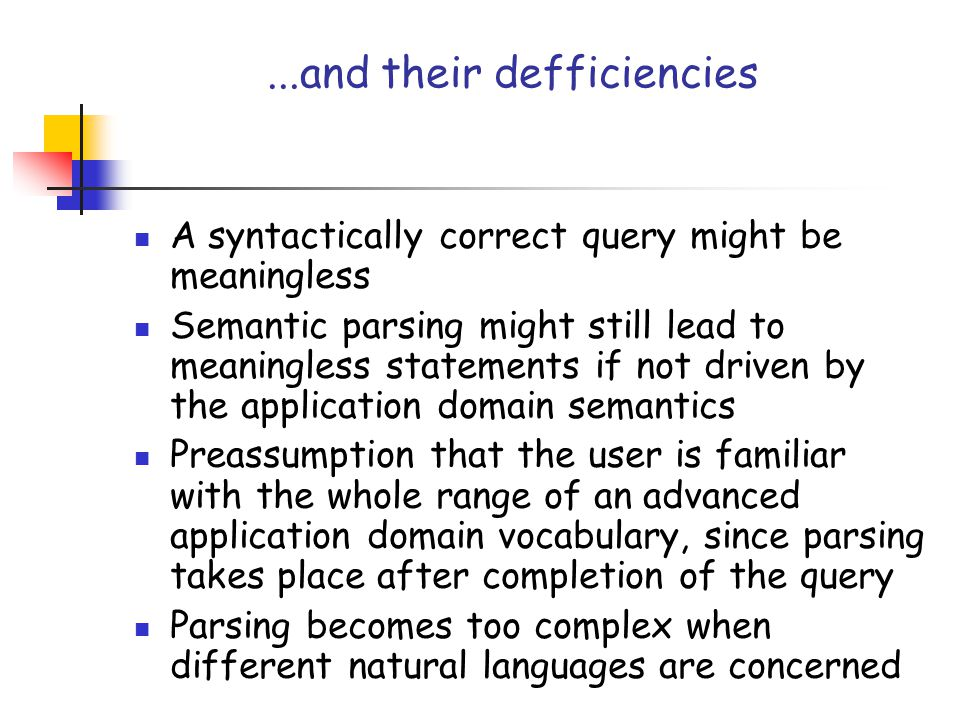 ...and their defficiencies A syntactically correct query might be meaningless Semantic parsing might still lead to meaningless statements if not drive