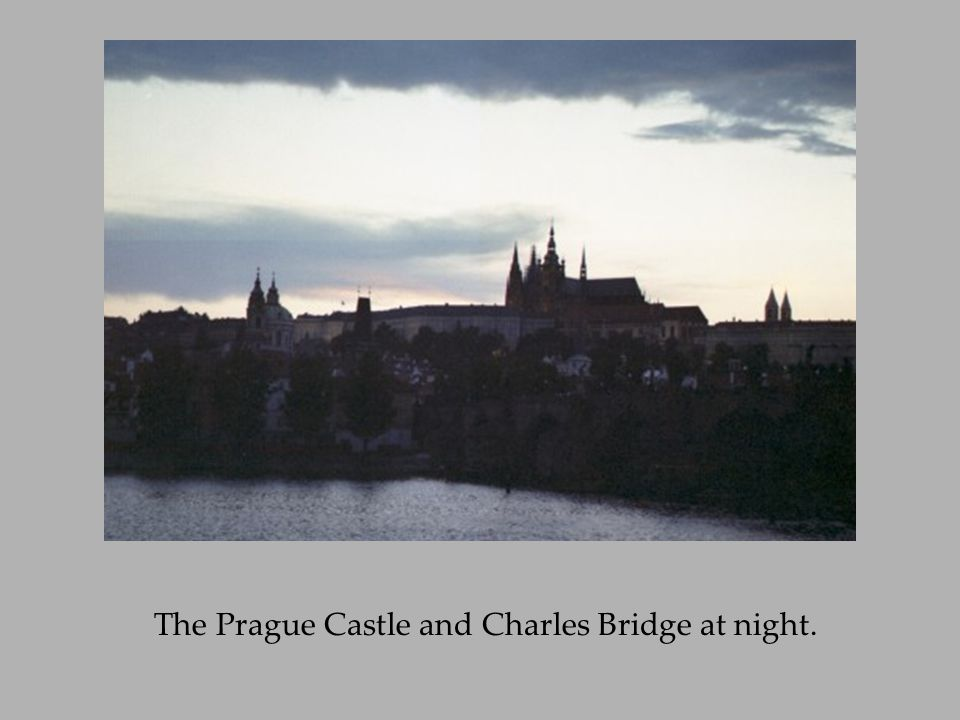 The Prague Castle and Charles Bridge at night.