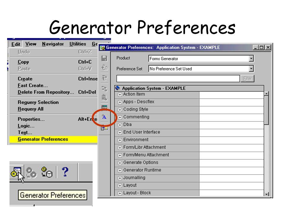 Generator Preferences