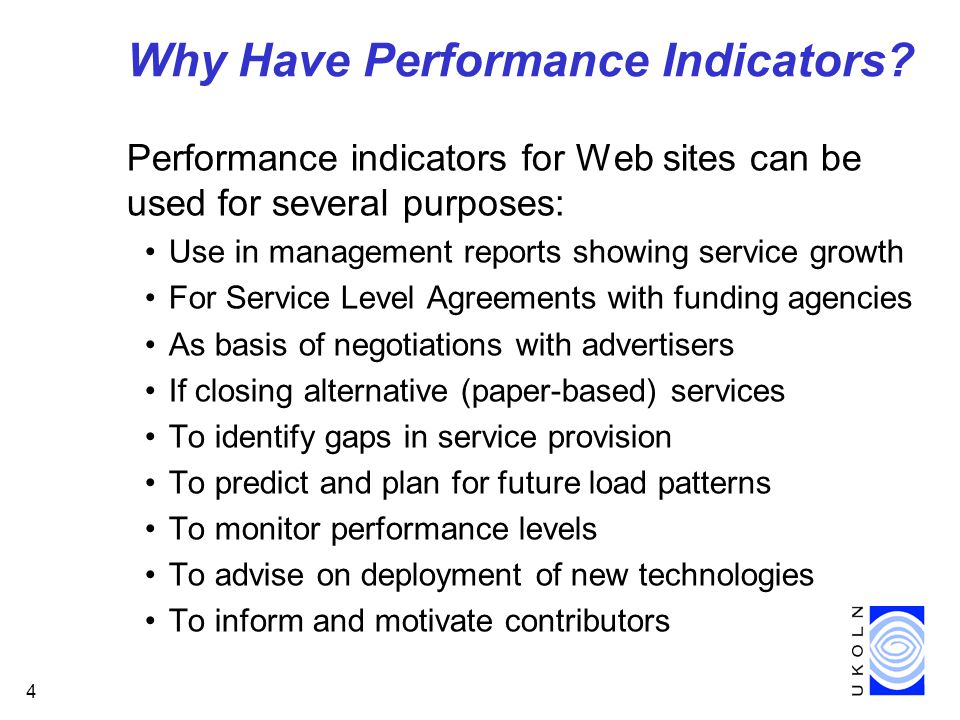 4 Why Have Performance Indicators.