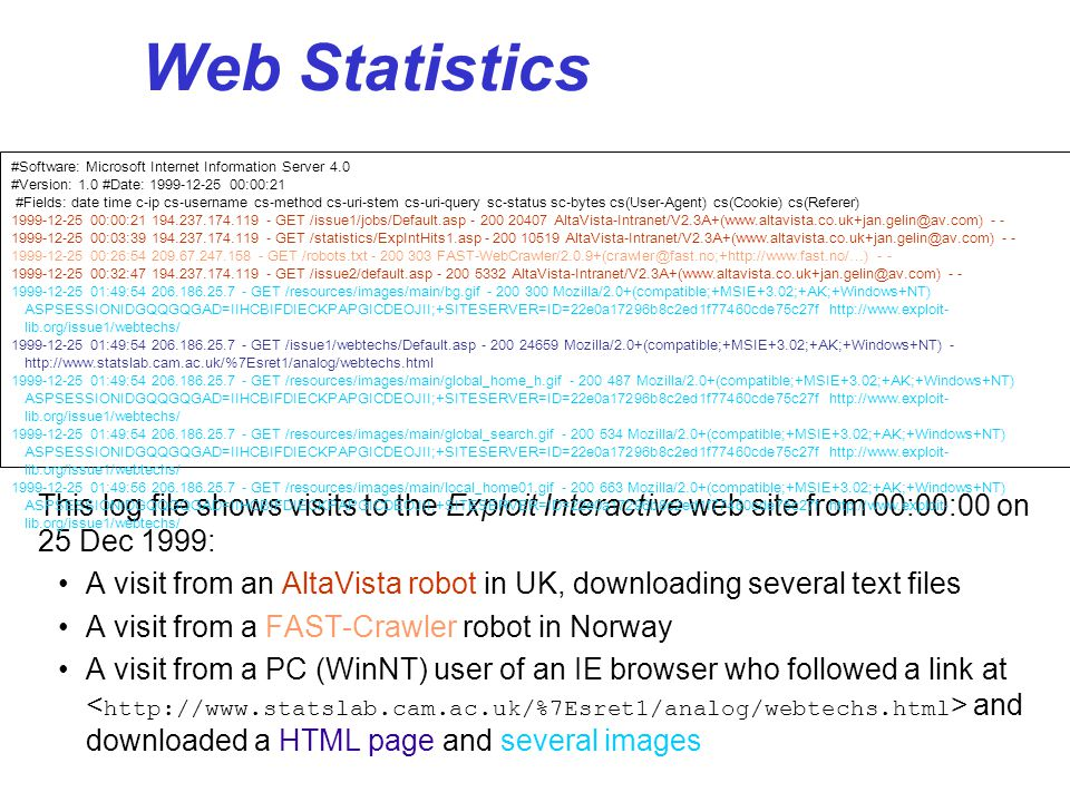 25 Technical Issues These charts show the browser and OS figures for Exploit Interactive Statmarket gives more comprehensive figures based on large nos.