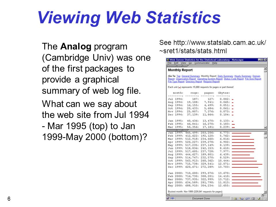 6 Viewing Web Statistics The Analog program (Cambridge Univ) was one of the first packages to provide a graphical summary of web log file.