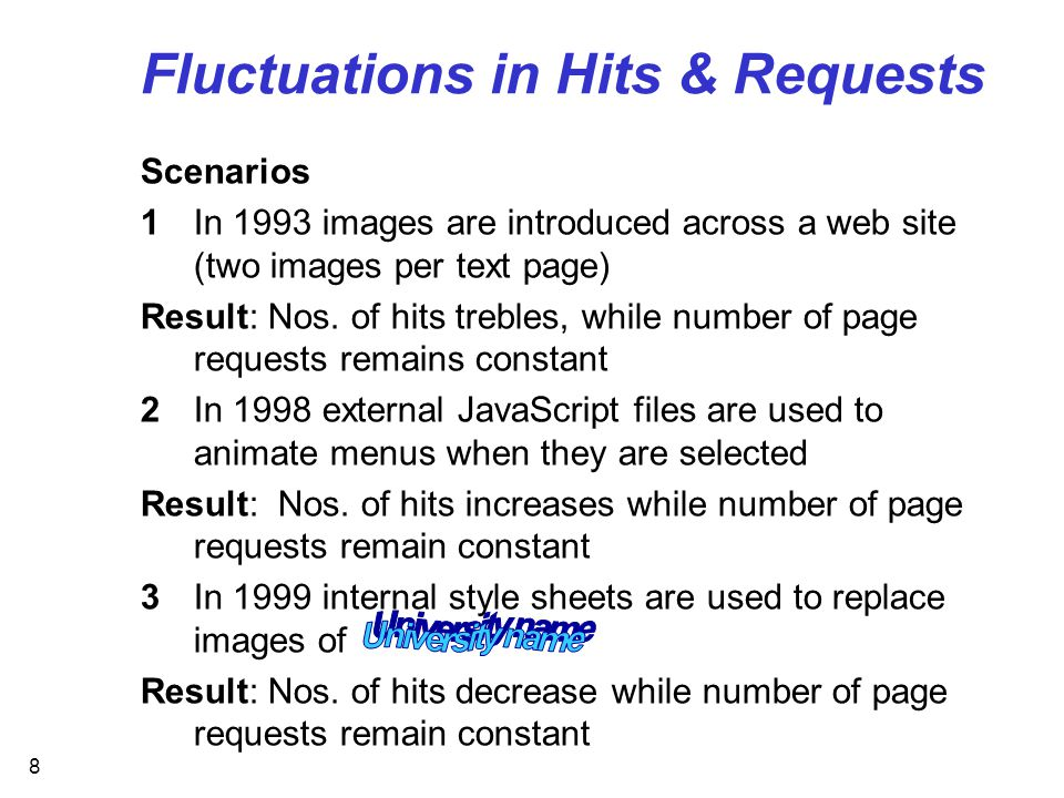 8 Fluctuations in Hits & Requests Scenarios 1In 1993 images are introduced across a web site (two images per text page) Result: Nos.