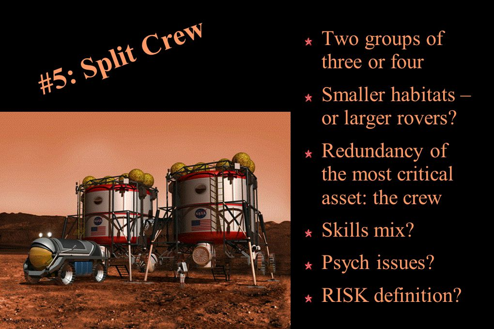 #5: Split Crew Two groups of three or four Smaller habitats – or larger rovers.