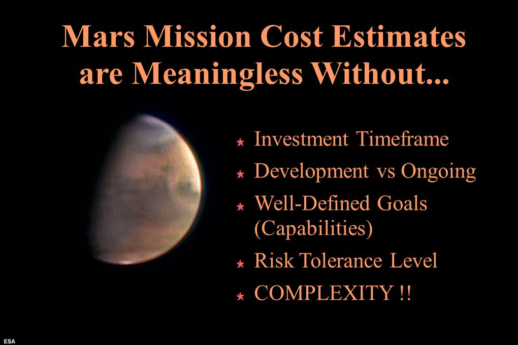 Mars Mission Cost Estimates are Meaningless Without...