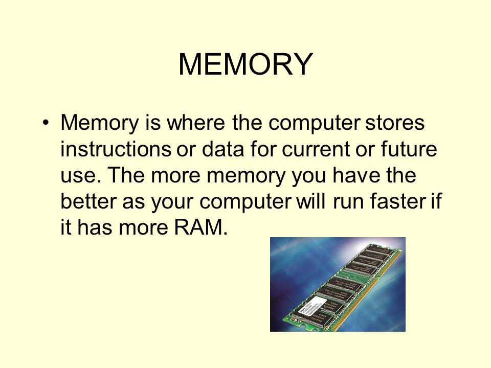 ROM - Read Only Memory - permanently burned into a chip and cannot be changed ( hence read, only) RAM - Random Access Memory - this is active memory that can store data, be erased and store data again.