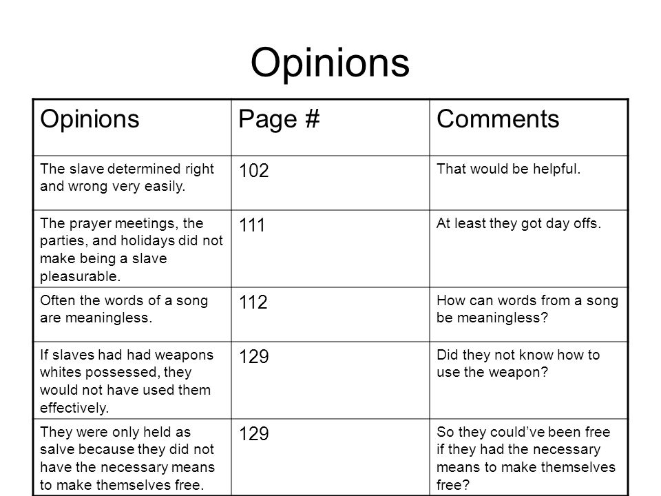 Opinions Page #Comments The slave determined right and wrong very easily.