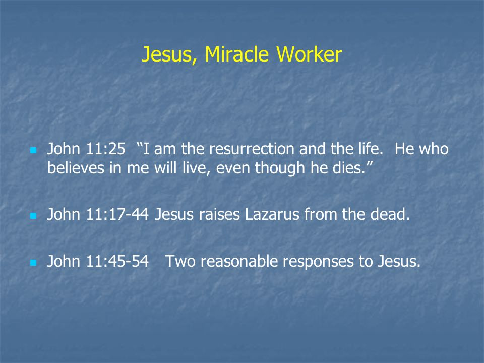 Jesus, Miracle Worker John 11:25 I am the resurrection and the life.